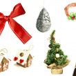 Collection of Christmas and New Year items isolated on white bac — Stock Photo