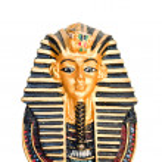 Egyptian golden pharaohs mask isolated on white — Stock Photo