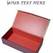 Empty red box isolated on white with space for your text — Foto Stock