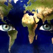 Planet earth and blue human eyes — Stock Photo #8527128