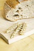 Wheat ears and fresh baked bread — Stock Photo