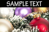 Christmas ornaments macro shot with space for your text — Stock Photo