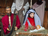 Christmas nativity scene with Mary Joseph and baby Jesus — Stock Photo