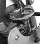 Close-up of old clock mechanism with gears — Stockfoto