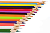 Assortment of colored pencils with shadow on white background — Stock Photo
