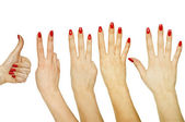 Set of counting woman hands 1 to 5 isolated on white background — Stock Photo
