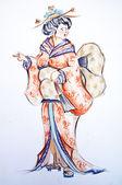 Japanese woman drawing — Stock Photo