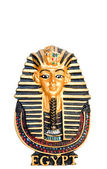 Egyptian golden pharaohs mask isolated on white — Stock Photo