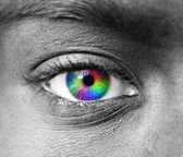 Multicolored human eye macro shot — Stock Photo