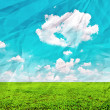Beautiful green field and blue sky on grunge crumpled paper — Stock Photo #8539118