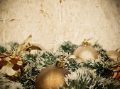 Grunge Christmass golden decoration background with space for yo — Stock Photo