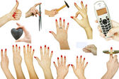 Collection of hand gestures with various concepts isolated on wh — Stock Photo