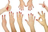 Raccolta di gesti delle mani isolato su sfondo bianco — Foto Stock