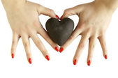 Woman's hands holding heart - heart shape — Stock Photo