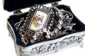 Zilveren sieraden doos — Stockfoto