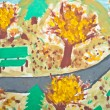 Abstract painting of kid - Autumn landscape — Stock Photo
