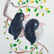 Birds on branch painting — Stock Photo