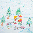 Child's painting of Christmas scene - Stockfoto