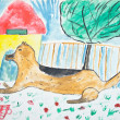 Kid's painting of dog — Stock Photo