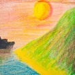 Child's hand drawing of sea and mountain landscape with crayons — Stock Photo