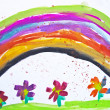 Royalty-Free Stock Photo: Kid\'s drawing with flowers and colorful rainbow