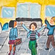 Child's drawing of children going in school — Stock Photo