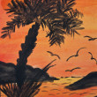 Tropical island with palm tress at sunset - painting — Stok fotoğraf
