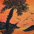 Tropical island with palm tress at sunset - painting — Foto Stock