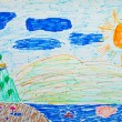Kid's painting of holiday landscape - Sea,sky and beach — Stock Photo #8540427