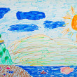 Kid's painting of holiday landscape - Sea,sky and beach — Stock Photo