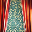 Red curtain with damask wall - Photo
