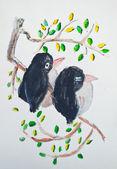 птицы на отделение живописи — Стоковое фото