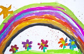 Kid's drawing with flowers and colorful rainbow — Stock Photo