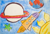 Kid's painting of universe with planets and stars — Stock Photo