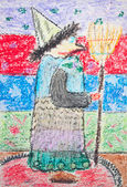 Kid's drawing of witch with broom — Stock Photo