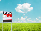 Land for sale sign on empty green field — Stock Photo
