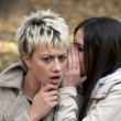 Attractive young women whispering secrets in park — Stock Photo