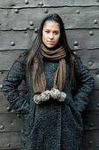 Portrait of beautiful fashion model against metal background — Zdjęcie stockowe