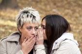 Two friends whispering secrets — Stock Photo