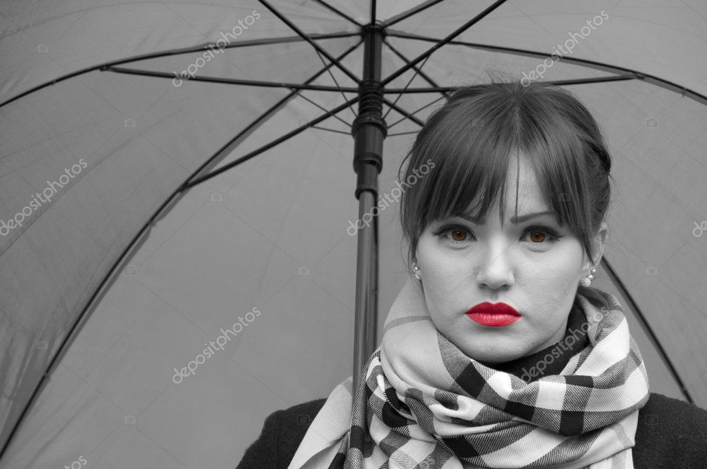 Portrait of beautiful fashion model in black and white with red lips and brown eyes  Stock Photo #8562661