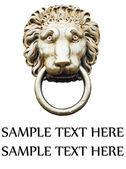 Lion's head door knocker isolated on white — Stock Photo