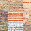 Set of various types of brick walls - Stock Photo