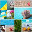Colorful sea collage - Summer vacation conceptual images — Stock Photo