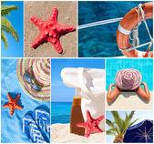 美丽的夏天照片-夏季度假概念的抽象拼贴画 — 图库照片