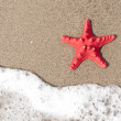Starfish and ocean wave on sandy tropical beach — Stock Photo