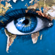 Planet earth and blue eye — 图库照片