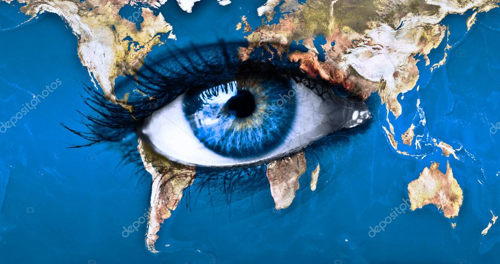 Planet earth and blue eye — Stock Photo #8823053