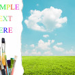 Beautiful landscape and colorful paint brushes - Painting concep — Stock Photo