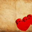 Two hearts on vintage grunge background - Happy Valentine's Day — Stock Photo