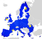 Map of European Union countries isolated — Foto Stock